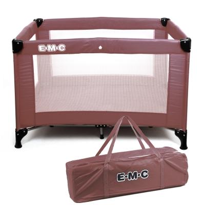 EMC 輕巧型遊戲床(咖啡色)加雙層架及尿布台
