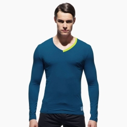 P.S極簡螢光領條舒適型男V領長袖T恤(海藍色),Private Structure