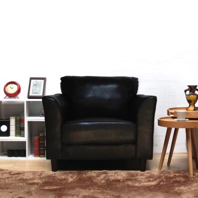 H&D Houston休士頓純樸單人皮沙發-深咖啡色