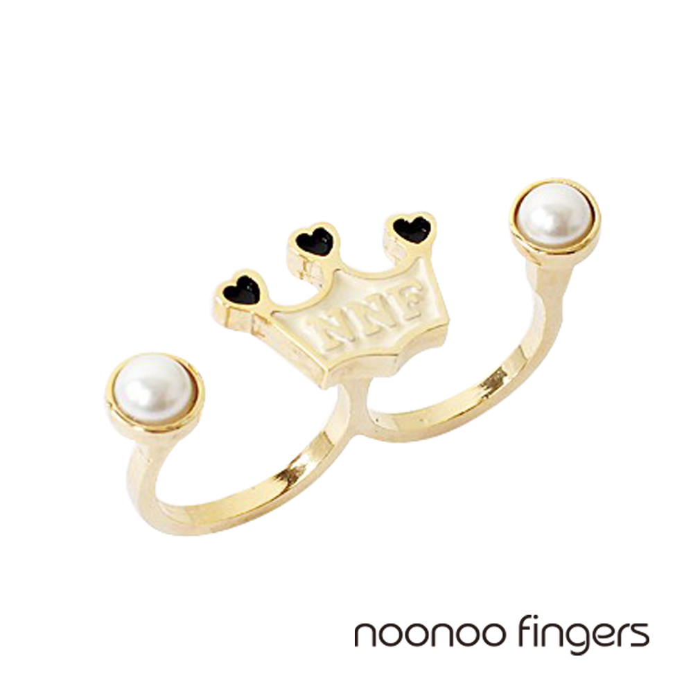 Noonoo Fingers Crown Double Pearl Ring皇冠雙珍珠戒指