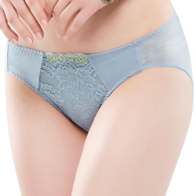 思薇爾 花苑系列M-XL蕾絲低腰三角內褲(灰藍色)