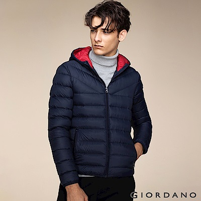 GIORDANO 男裝可機洗連帽輕羽絨外套 - 02 標誌海軍藍