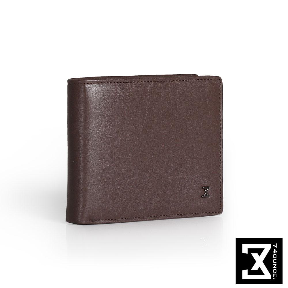 74盎司 Plain 真皮橫式短夾(零錢袋)[N-499]咖啡
