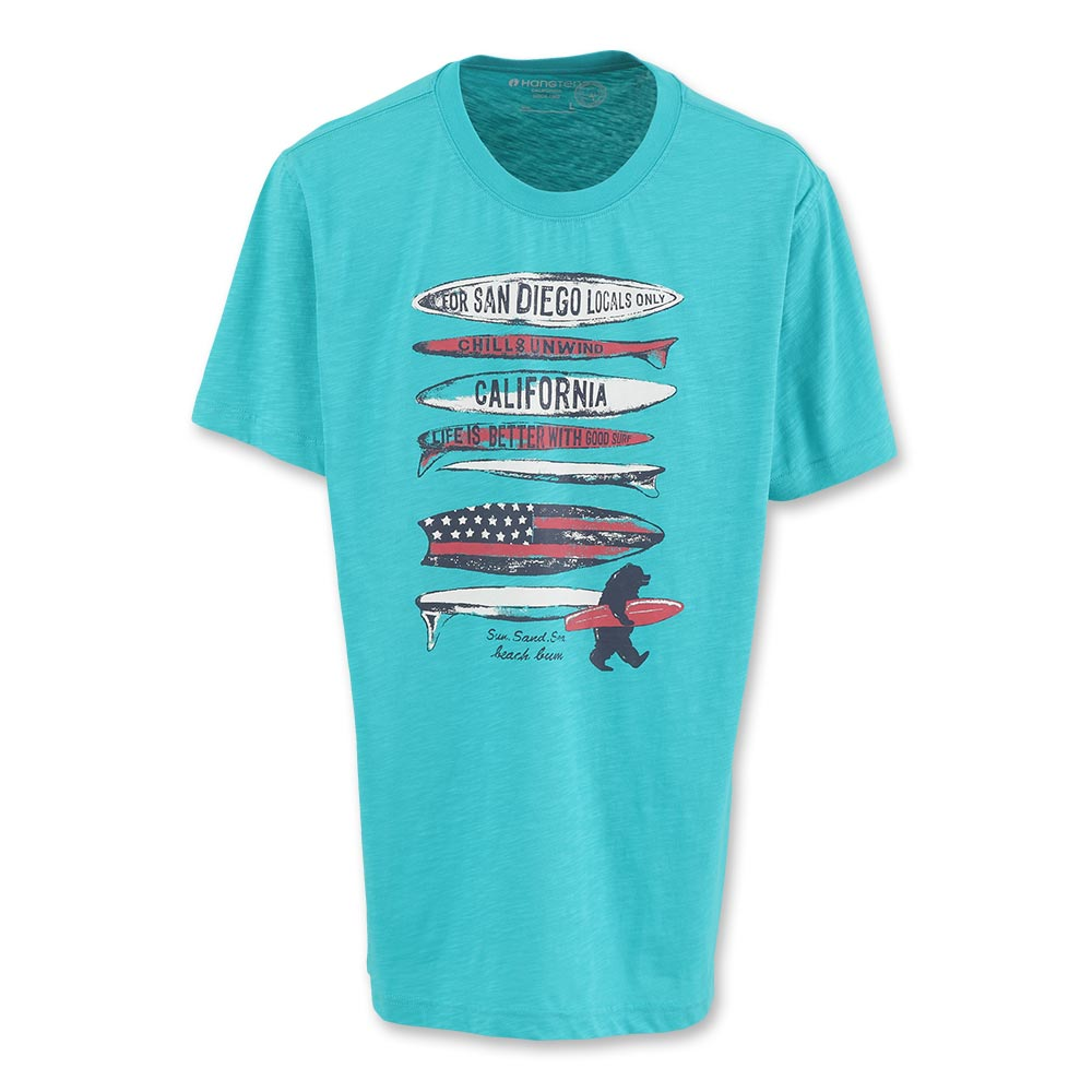 Hang Ten - 男裝 - 有機棉 衝浪趣印圖T-Shirt-湖水綠