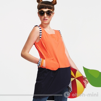【ohoh-mini 孕婦裝】造型不規則下擺層次拼接孕婦上衣(兩色)