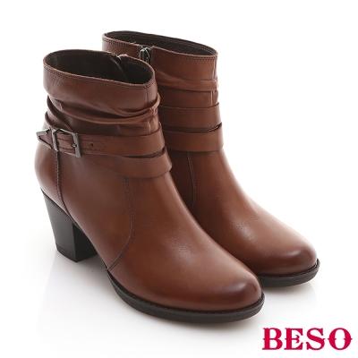 BESO-復刻年代-全真皮雙色感釦環粗跟短靴-咖