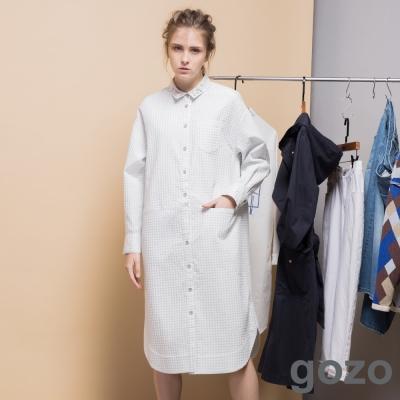 gozo-復古文藝波卡點襯衫式洋裝-二色
