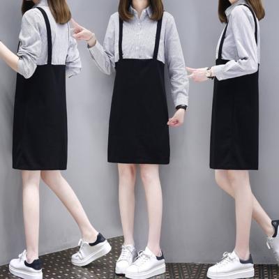 中大尺碼假兩件細條紋襯衫拼接黑色吊帶裙洋裝XL~4L-Ballet Dolly