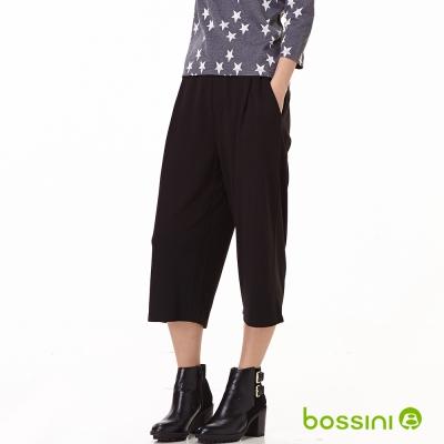 bossini女裝-七分寬口褲02黑