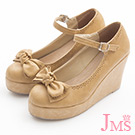 JMS-俏皮雙層蝴蝶結楔型娃娃鞋-杏色