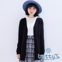 betty's貝蒂思 舒適毛料素色毛料針織衫(