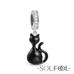 SOUFEEL索菲爾 925純銀珠飾 黑貓 吊飾