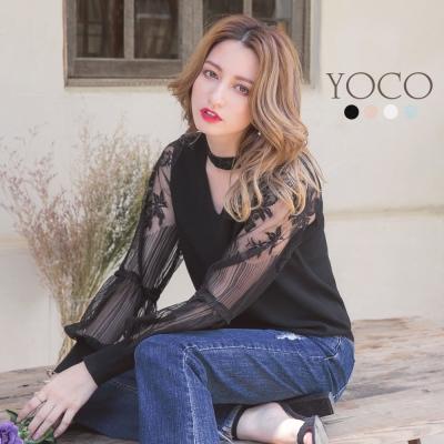 東京著衣-yoco 多色心機美人蕾絲拼接針織上衣-S.M.L(共四色)