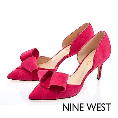 NINE-WEST-蝴蝶結飾尖頭高跟鞋-亮眼桃