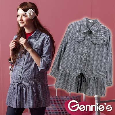 【Gennie's奇妮】學院風格紋秋冬孕婦長版上衣-藍/黑 (G3214)