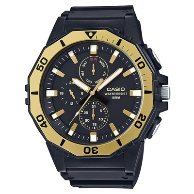 CASIO旋轉式多邊形潛水運動風概念休閒錶(MRW-400H-9A)黃框/52.7mm