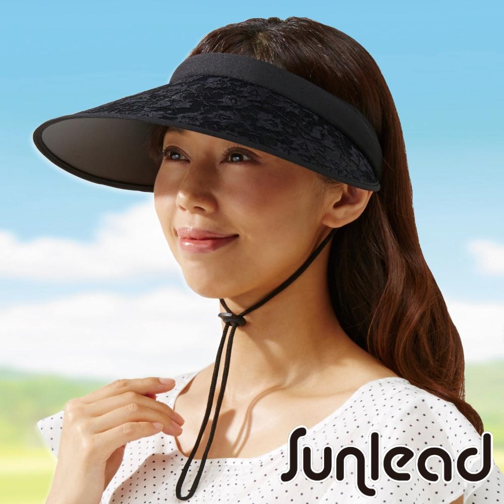 Sunlead 防風吹落款。防曬立體長帽簷抗UV遮陽帽/中空帽 (黑色)