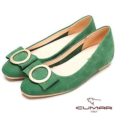 CUMAR時尚美人-搶眼裝飾隱藏增高平底鞋-綠色