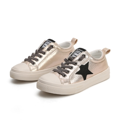 閃亮星星款四季百搭兒童時尚帆布板鞋(金)