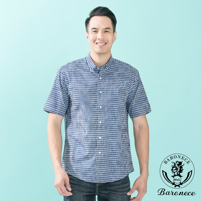 BARONECE 微正式釘釦領格紋短袖休閒襯衫_藍(517412-09)