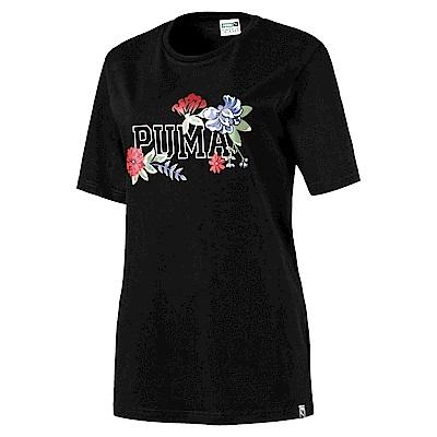 PUMA-女性流行系列花蕊風短袖T恤-黑色-亞規