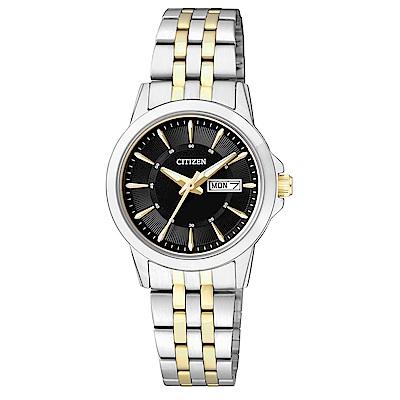CITIZEN星辰 秀氣雙色調石英女錶  (EQ0608-55E)-黑色/27mm