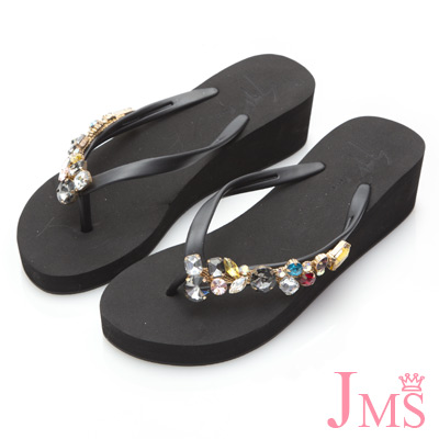 JMS-閃耀造型彩鑽厚底夾腳楔型海灘拖-黑色