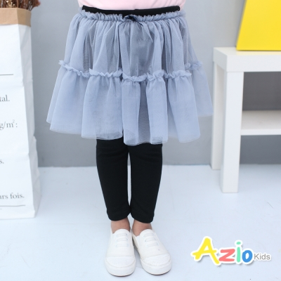 Azio Kids 童裝-內搭褲裙 蝴蝶結網紗鬆緊內搭褲裙(黑)