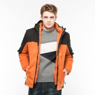 Hang Ten - 男裝 -ThermoContro恆溫多功能防風保暖連帽厚外套-橘