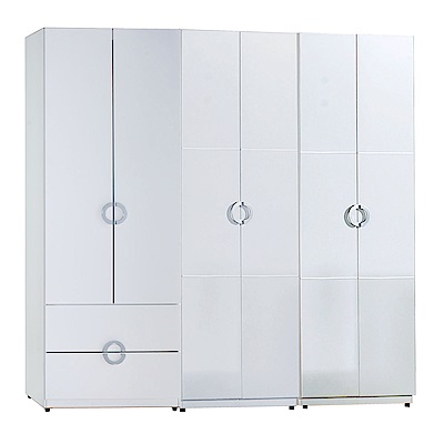 AT HOME-凱倫7尺白色三件組合衣櫃[二抽+雙吊+單抽](210*54*197cm)