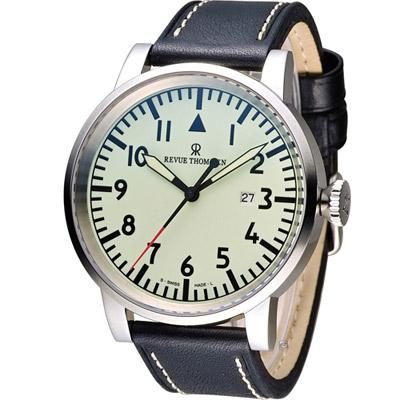 梭曼 Revue Thommen AIRSPEED系列機械腕錶-黑色/47mm