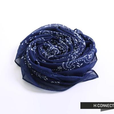 H-CONNECT-韓國品牌-民族風寧波光彩絲巾-藍