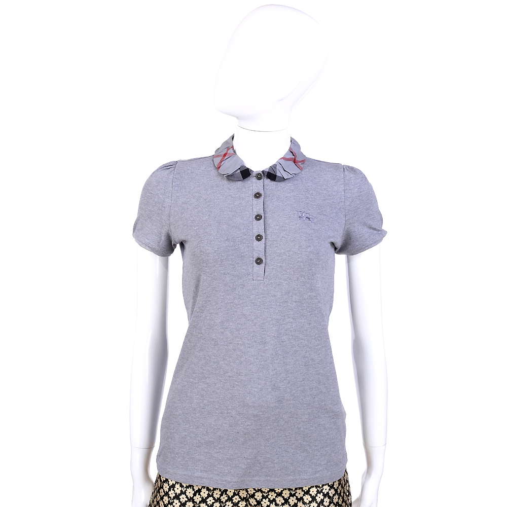 BURBERRY 灰色經典格紋皺褶設計短袖POLO衫