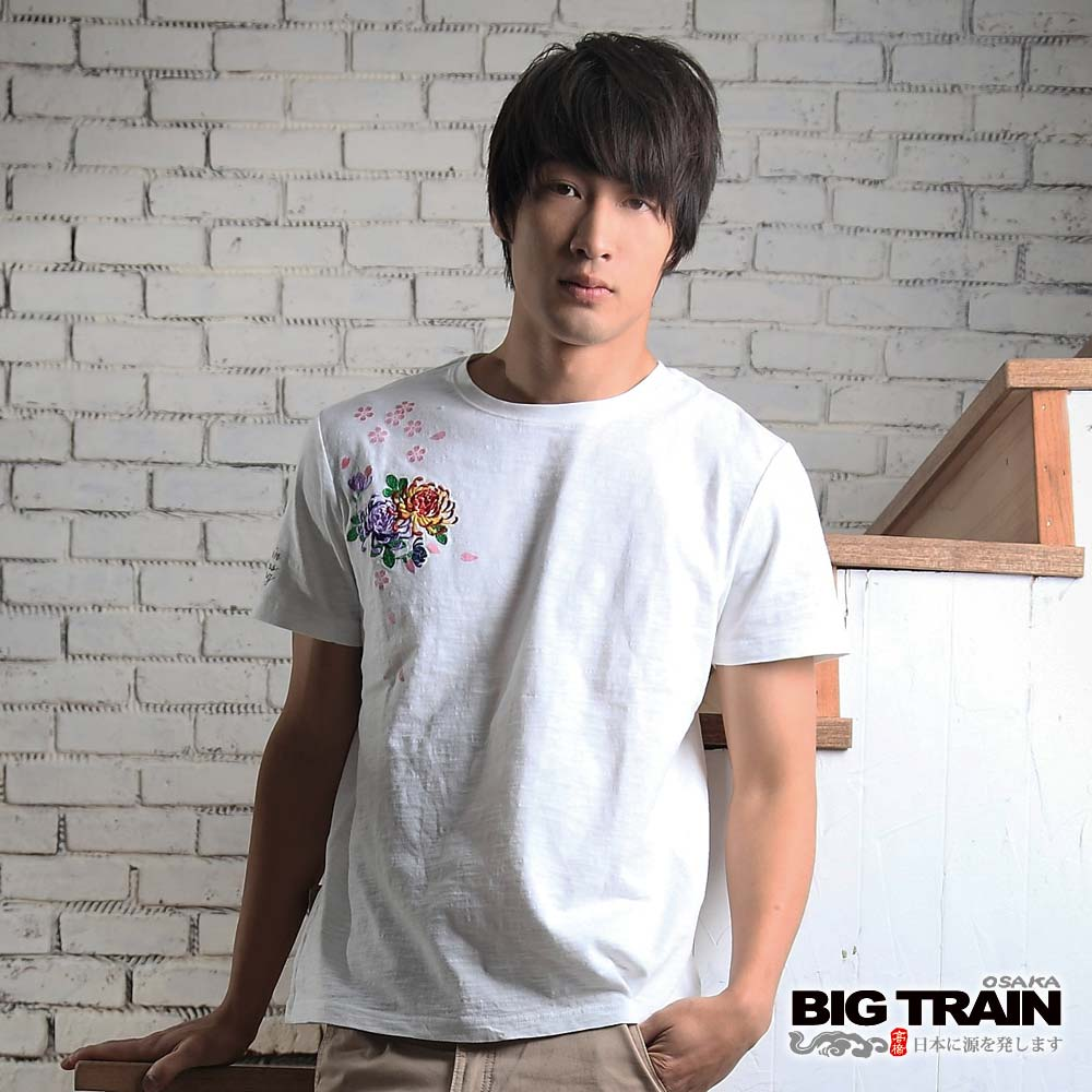 BIG TRAIN 浪花鯉魚圓領T恤-男-牙白