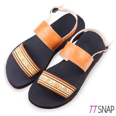 TTSNAP涼鞋-MIT夏日限定織帶平底鞋 棕