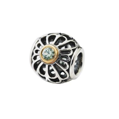 Pandora 潘朵拉 綠鋯石K金框鏤空花朵墜