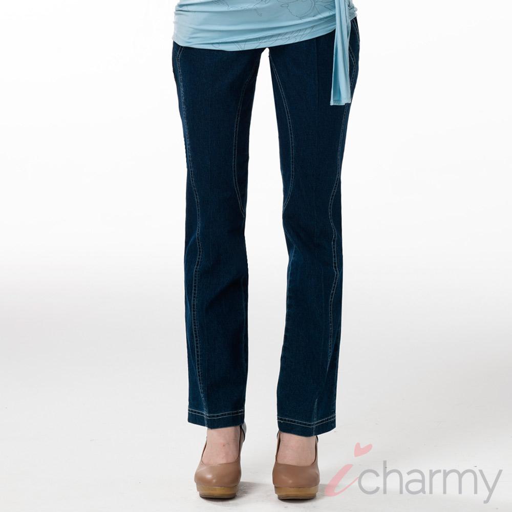 愛俏咪I charmy 質感彈性包覆縫線修身剪裁直筒牛仔褲