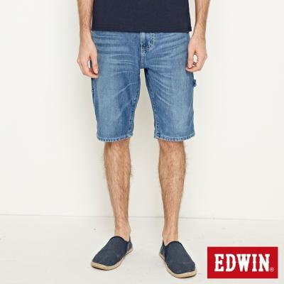 EDWIN 迦績褲JERSEYS角袋工作短褲-男-石洗藍