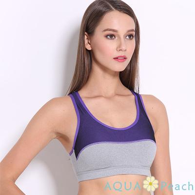 運動內衣 撞色拼接縷空挖背運動內衣 (紫色)-AQUA Peach