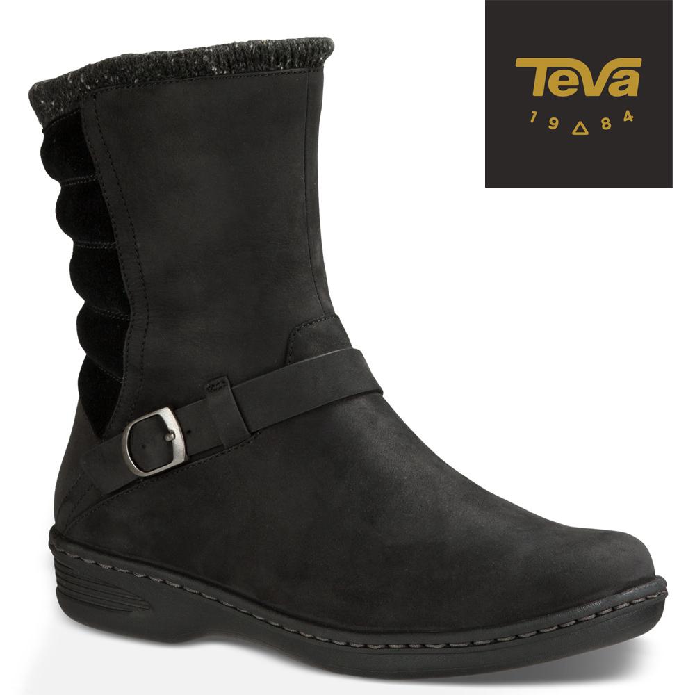 TEVA 美國-女 Nopal Mid WP 真皮防水機能短靴(黑色)