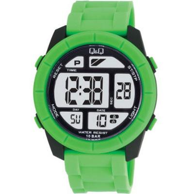 Q&Q 彩色潮流大鏡面多功能電子錶-草綠/47mm
