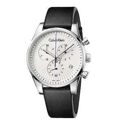 CK CALVIN KLEIN Steadfast 堅定系列太陽紋白面計時手錶