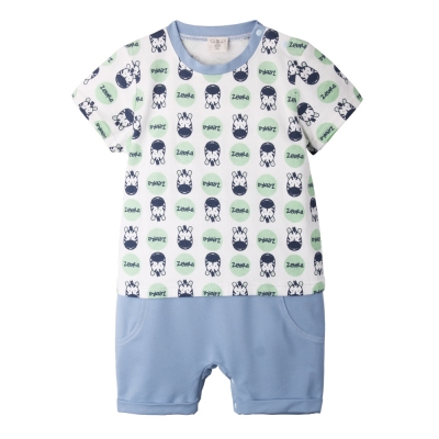 baby童衣-連身衣-嬰兒仿牛仔假兩件卡通圖案爬服
