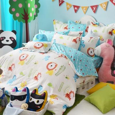 義大利Fancy Belle 快樂農場 雙人四件式防蹣抗菌舖棉兩用被床包組
