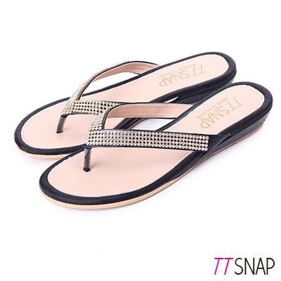 TTSNAP拖鞋-MIT人字水鑽夾腳坡跟涼拖 黑