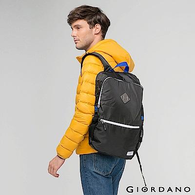 GIORDANO 運動休閒輕雙肩後背包 - 05 標誌黑