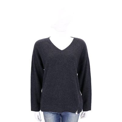 ALLUDE 深灰色側拉鍊設計羊毛針織上衣(70%WOOL)