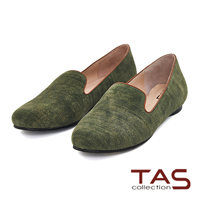 TAS 刷色牛仔布紋休閒樂福鞋-個性墨綠