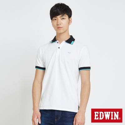 EDWIN 方塊領造型POLO衫-男-白色