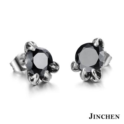 JINCHEN 白鋼龍爪單邊耳環 黑鑽